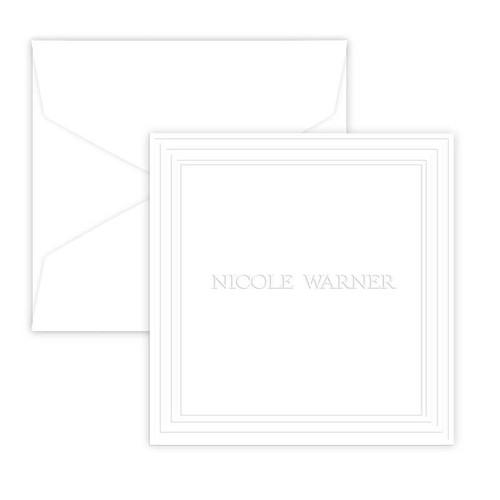 Full Name Framed Portrait Enclosure Foldover Cards - Embossed (EG1517)