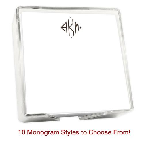 "Del Mar Monogram Memo Square Notepads with Holder - 275 Sheets - 5"" x 5"" (EG2004)"