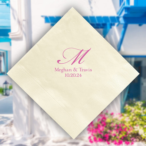 Mykonos Wedding Personalized Napkin - Foil Pressed - 100/Set (EG2682) - StationeryXpress.com Font L93