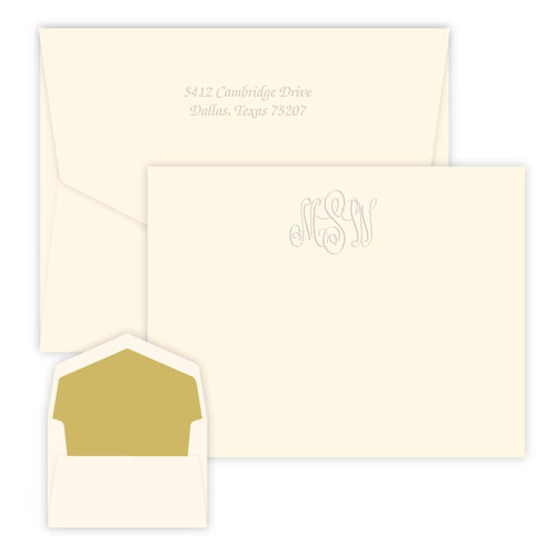 Classic Monogrammed Embossed Flat Cards - 25/Set (EG3416)