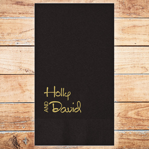 Lux Guest Towel Napkin - 2 Names - Foil Pressed - 100/Set (EG2690)