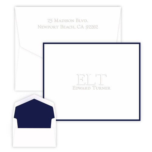 Initials & Embossed Name Fold Notes - Embossed Stationery (EG7085)
