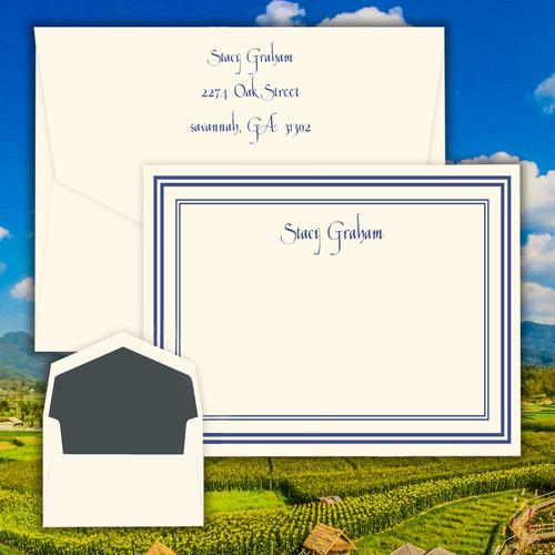 Province Flat Cards - Raised Ink Stationery & Raised Ink Border EG7012   StationeryXpress