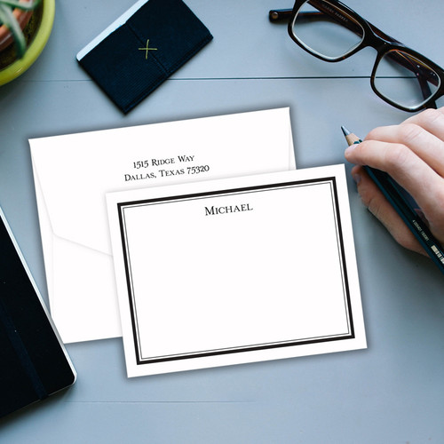 Santa Monica Personalized Flat Cards - Raised Ink Stationery (EG8084)