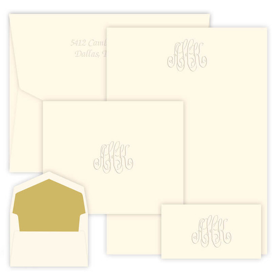 picture about Embossed Stationery called (No cost Return Go over!) (No cost Shipping and delivery!) 150 Piece Encore Monogram Stationery Fastened - Embossed Stationery - 5 Monogram Patterns