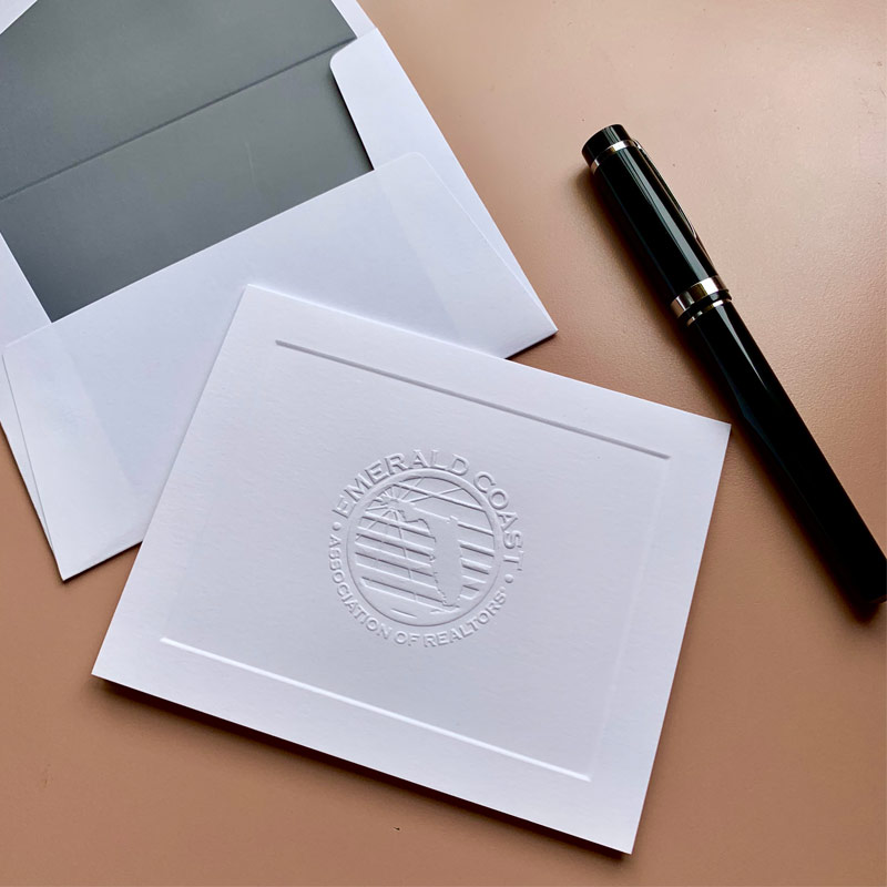 graphic regarding Embossed Stationery named Your Brand Embossed Knightsbridge Body upon Folded Notes - Customized Invest in Embossed Stationery