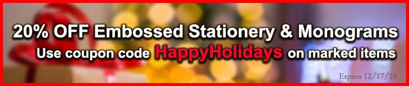20% OFF Embossed Stationery & Monogram Sale at StationeryXpress.com