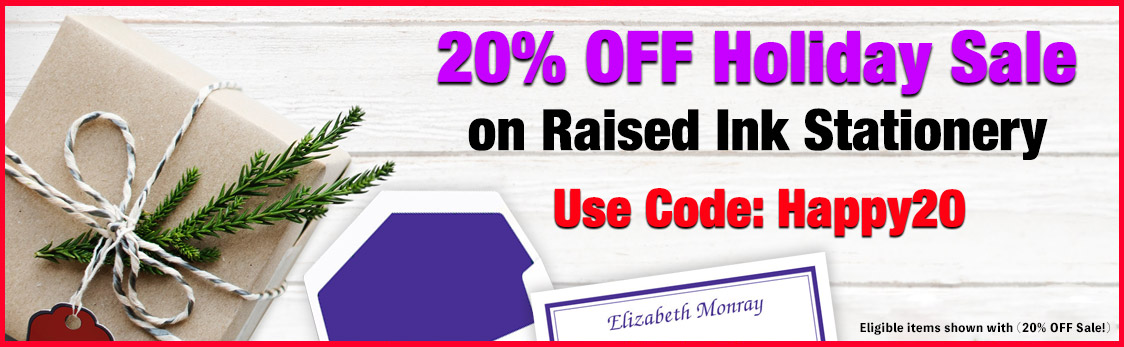 20% OFF Raised Ink Stationery Sale at StationeryXpress.com