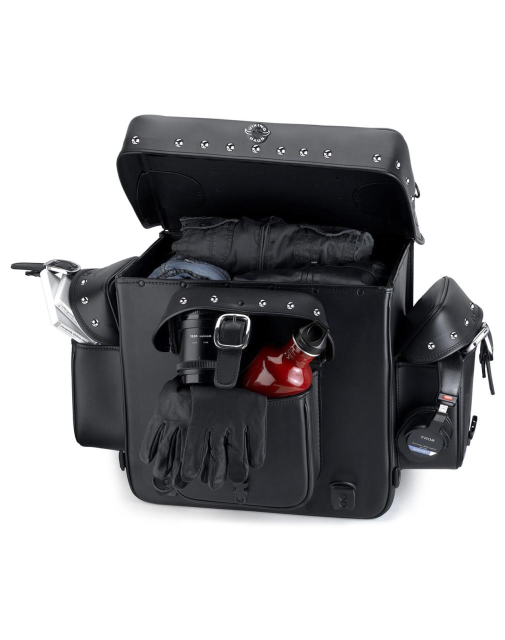 Viking Revival Series Studded Motorcycle Sissy Bar Bag Storage