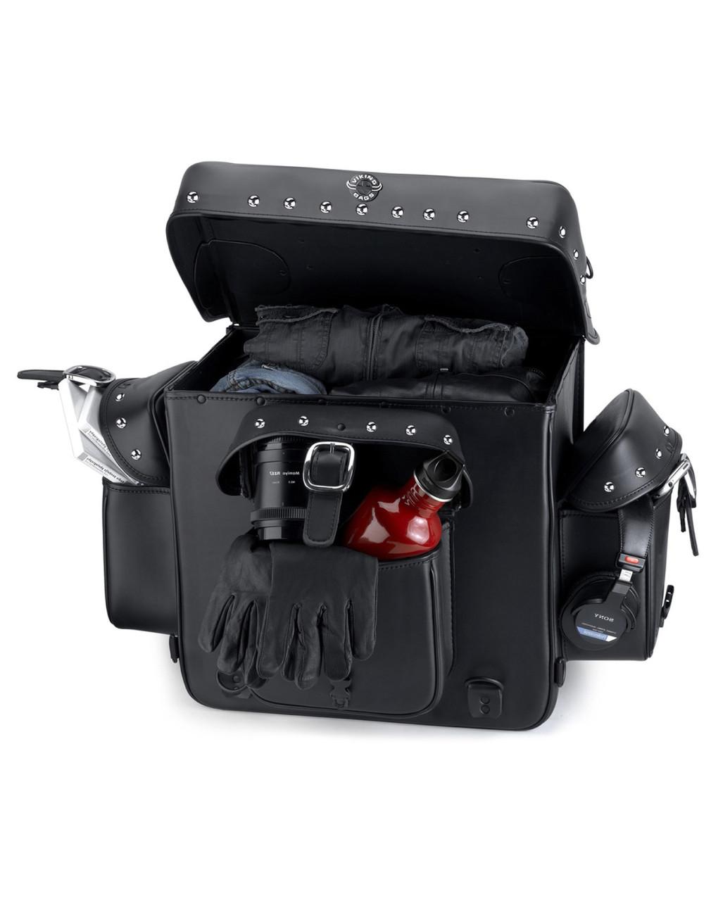 Viking Revival Series Studded Motorcycle Sissy Bar Bag For Harley Davidson Storage View