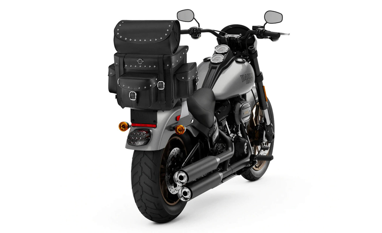 Victory Viking Revival Series Studded Motorcycle Sissy Bar Bag on Bike View
