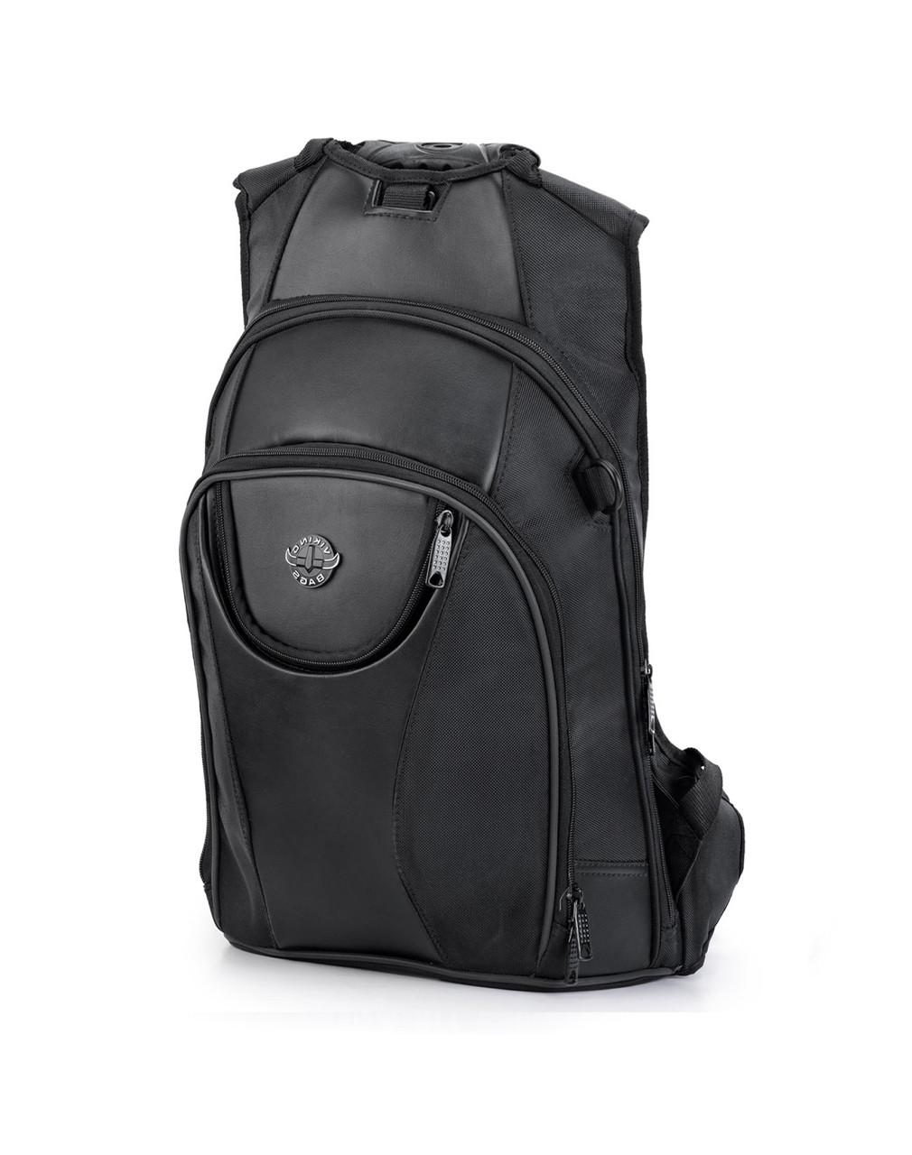 Viking Large Black Backpack For Harley Davidson Main Bag View