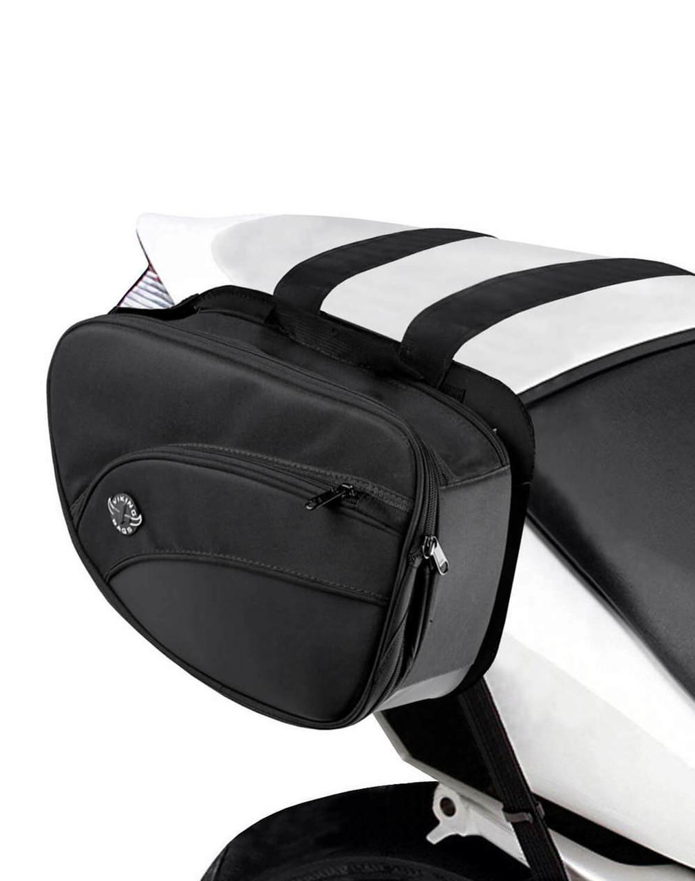 Viking Mini Expandable Black Motorcycle Triumph Bonneville T120 Saddlebags Bag on Bike Side View