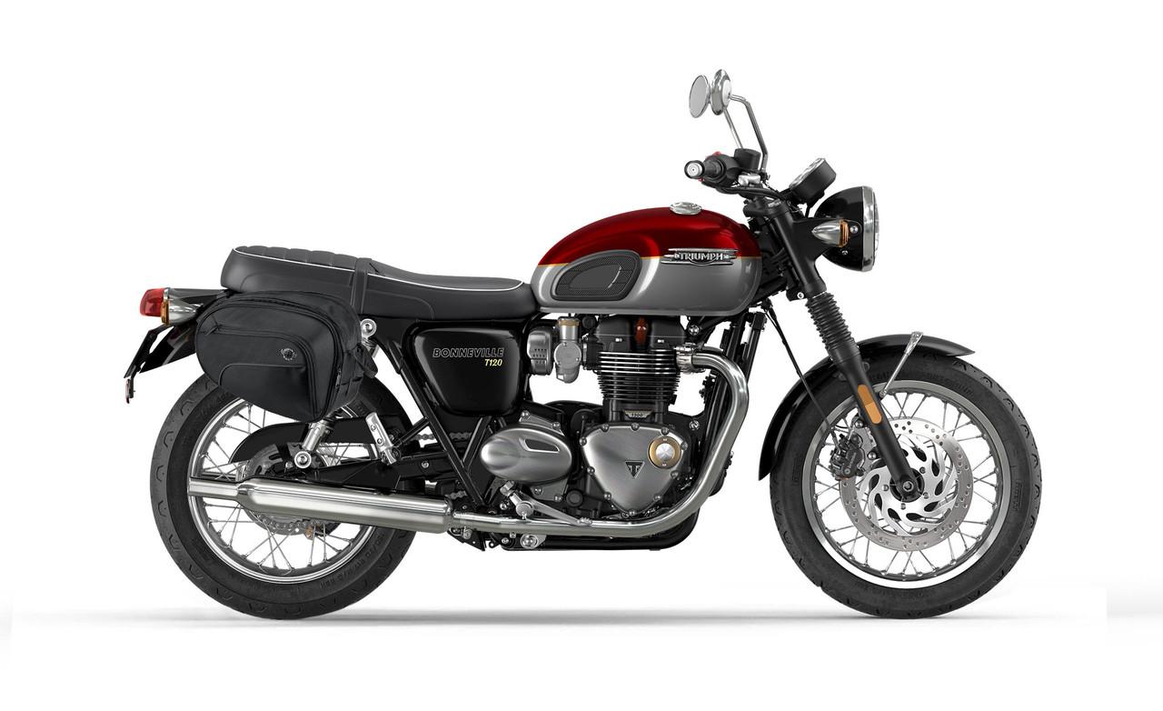 Viking Mini Expandable Black Motorcycle Triumph Bonneville T120 Saddlebags Bag on Bike View