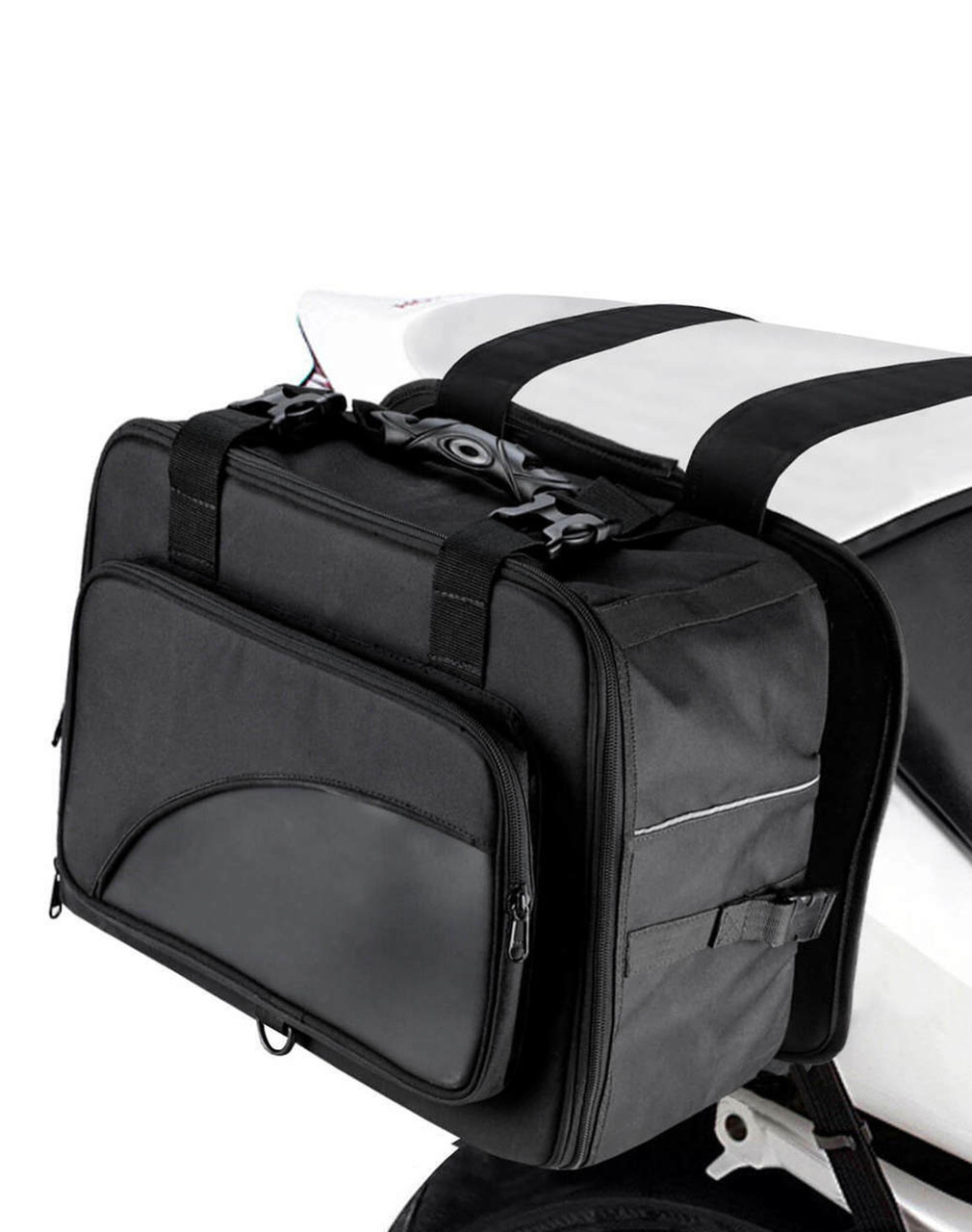Viking Extra Large Black Motorcycle Triumph Bonneville T120 Saddlebags Bag on Bike Side View