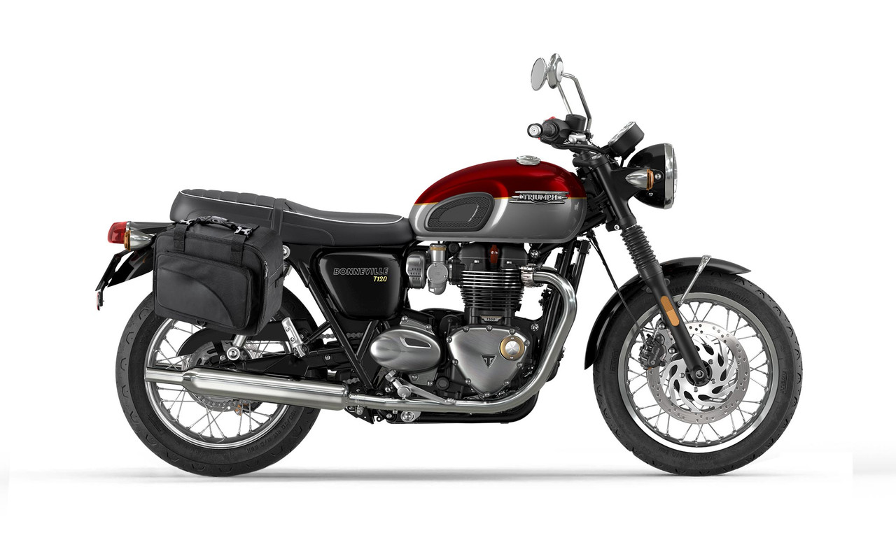 Viking Extra Large Black Motorcycle Triumph Bonneville T120 Saddlebags Bag on Bike View