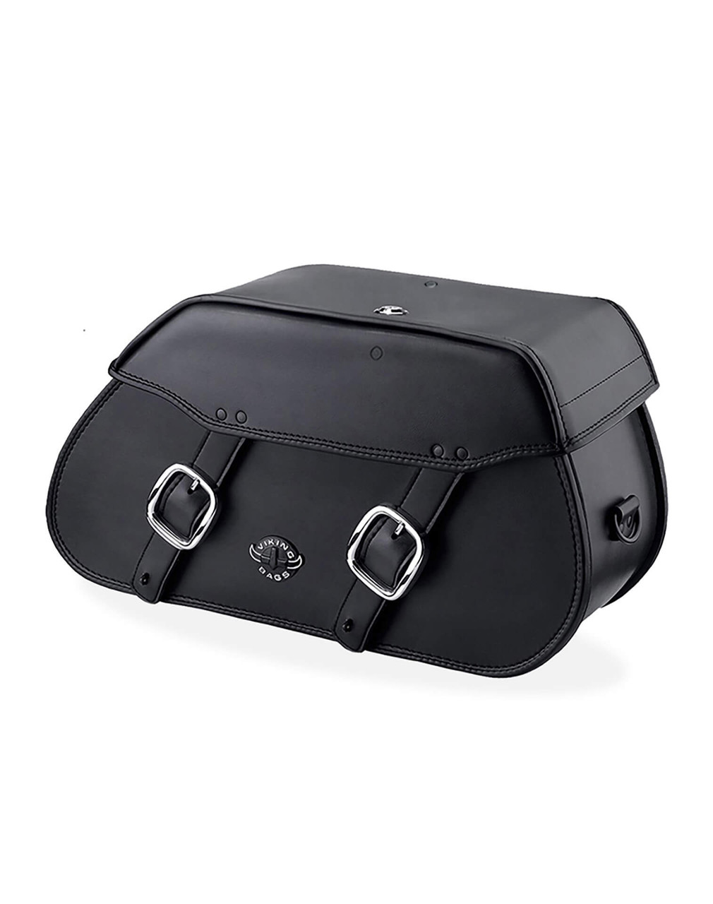 VikingBags Pinnacle Large Double Strap Leather Motorcycle Saddlebags For Harley Softail Breakout 114 FXBRS Main View