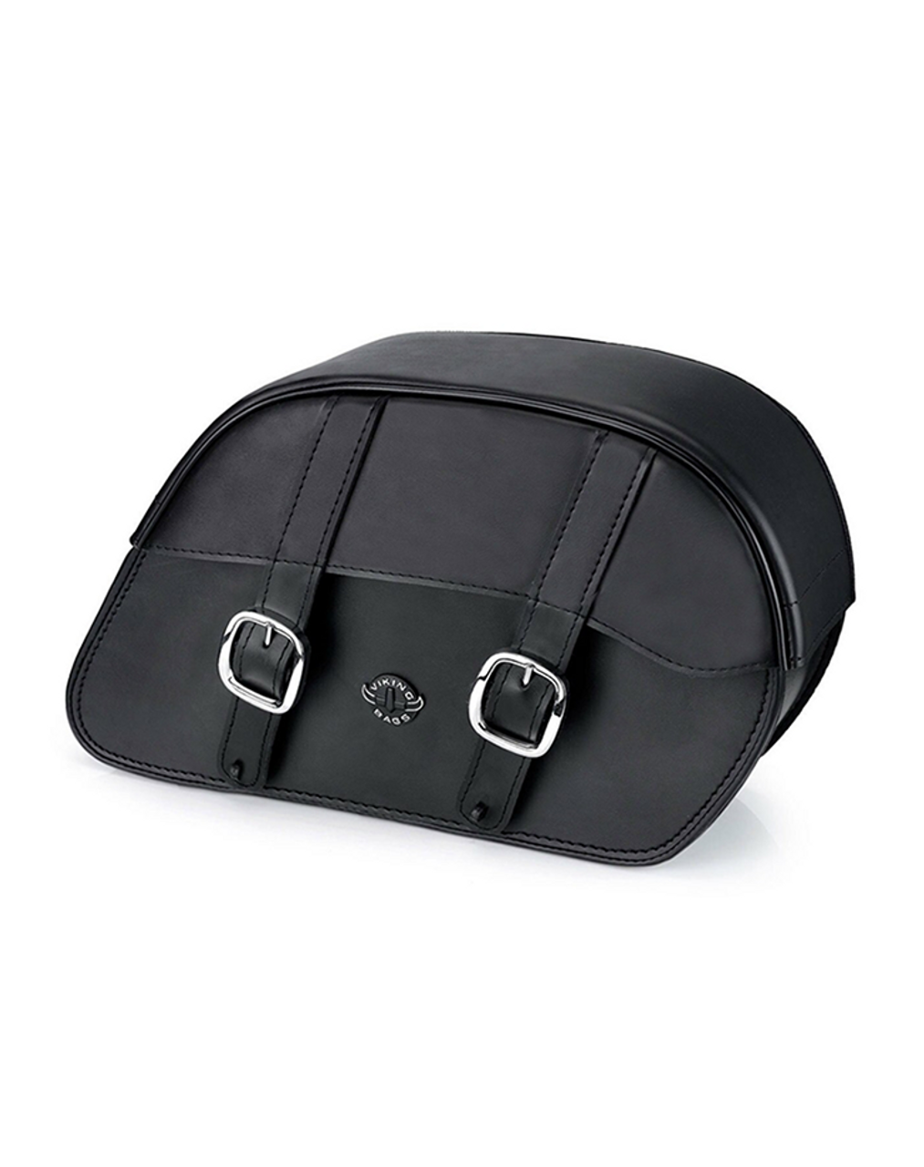 VikingBags Char Vital Padlock Double Strap Leather Medium Motorcycle Saddlebags For Harley Softail Low Rider S FXLRS Main View