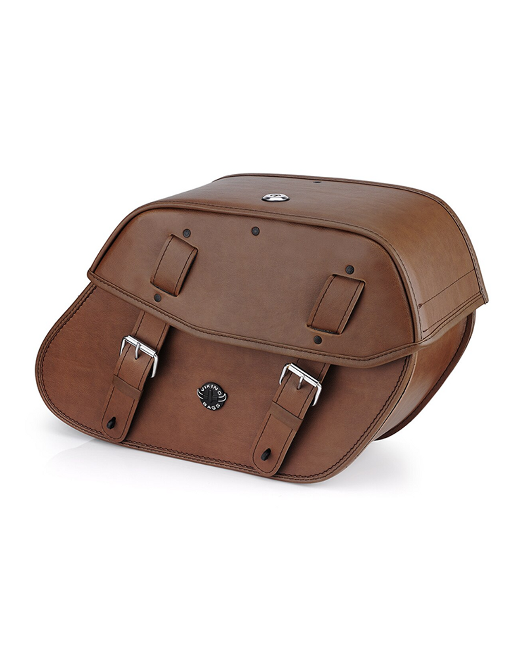 VikingBags Odin Brown Medium Double Strap Leather Motorcycle Saddlebags For Harley Softail Low Rider S FXLRS Main View