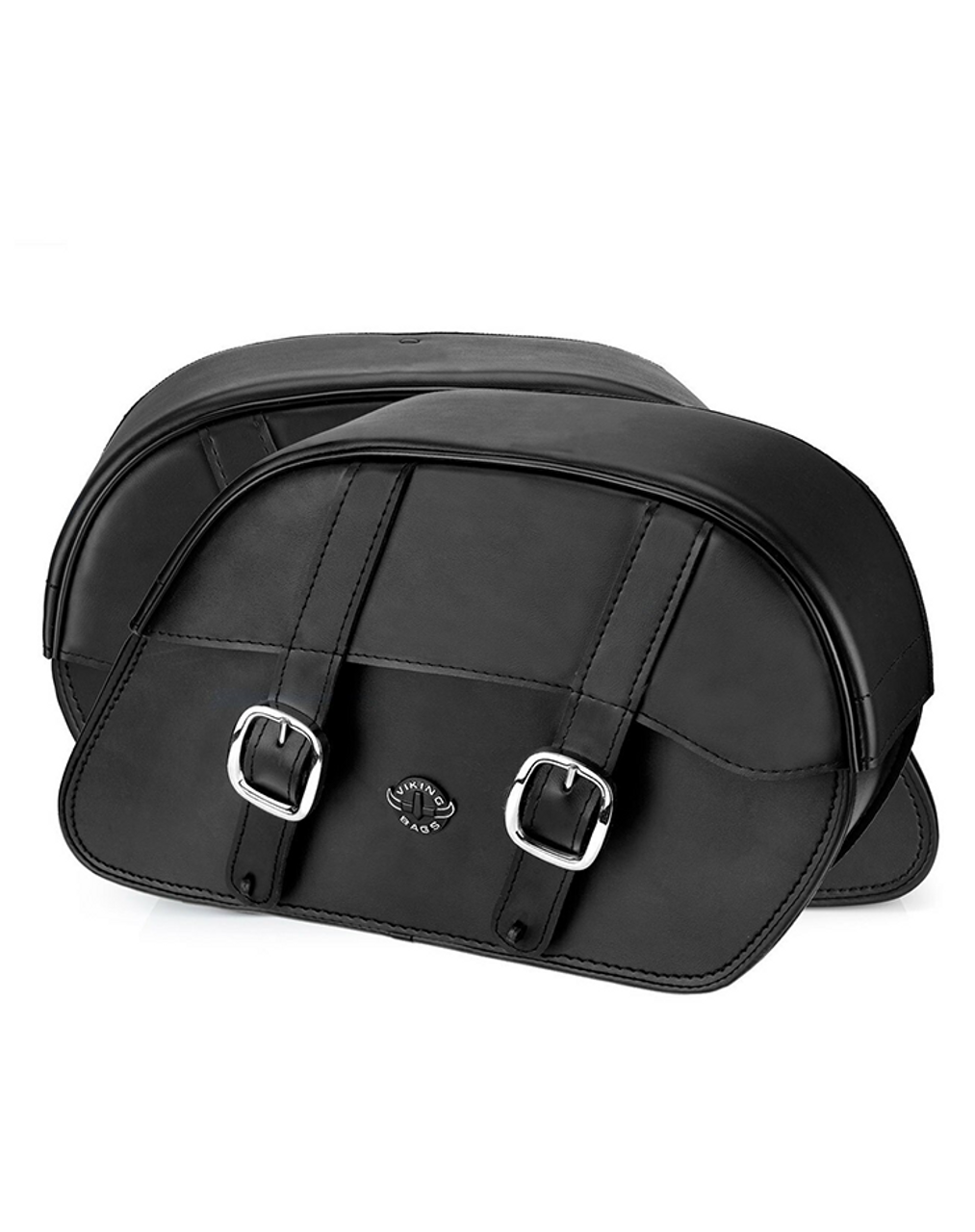 VikingBags Char Vital Medium Padlock Double Strap Leather Motorcycle Saddlebags For Harley Softail Breakout 114 FXBRS Both Bags View