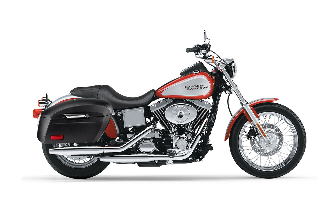 Viking Lamellar Extra Large Shock Cutout Leather Covered Saddlebag For Harley Dyna Low Rider FXDL Bag On Bike View