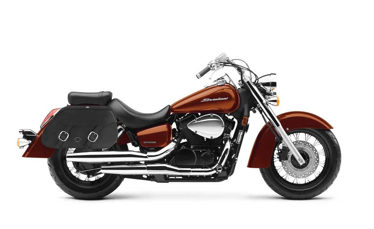 VikingBags Pinnacle Large Double Strap Honda Shadow Aero ABS VT750CS Leather Motorcycle Saddlebags bag on bike view