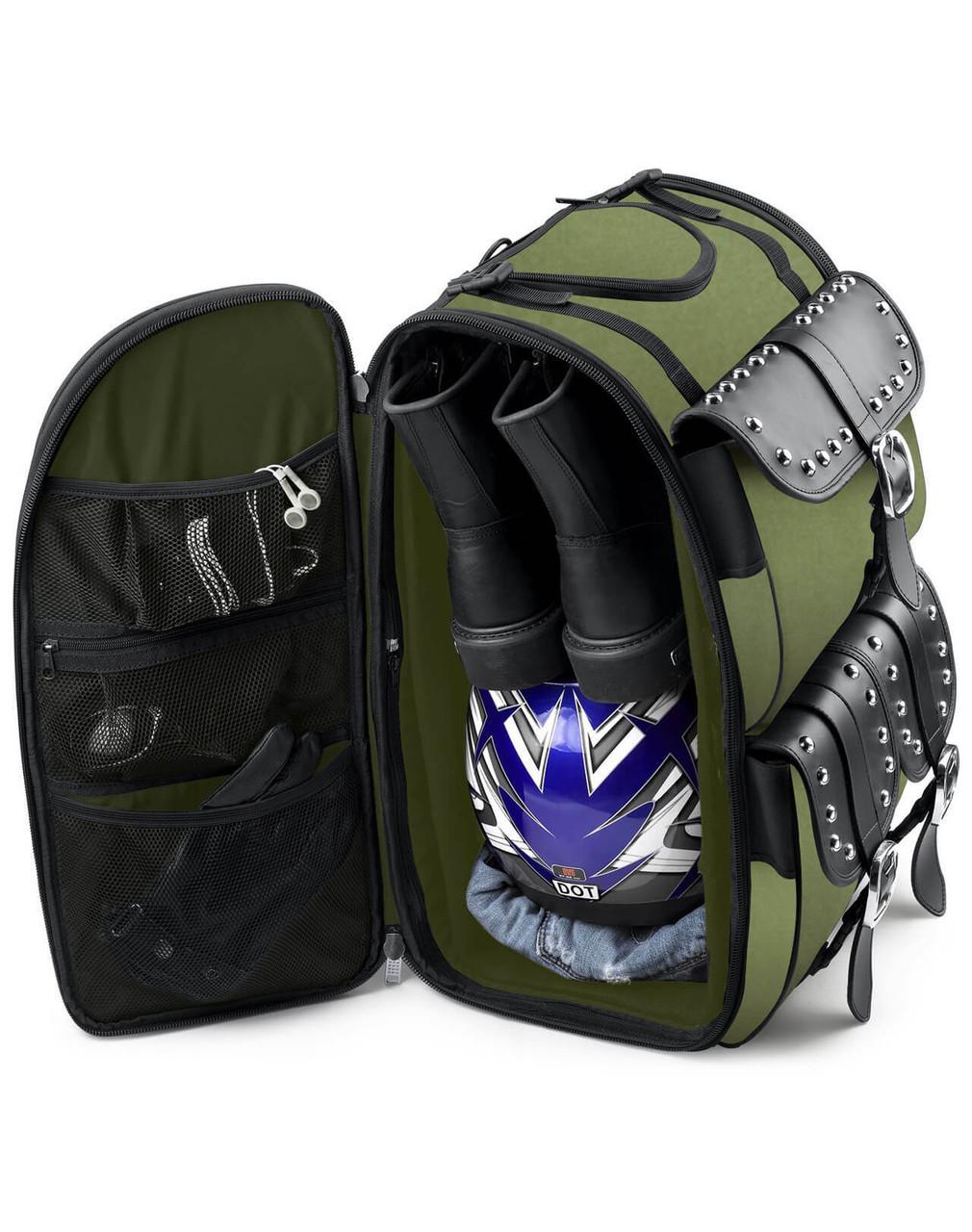 VikingBags Extra Large Studded Green Suzuki Motorcycle Tail Bag Storage View