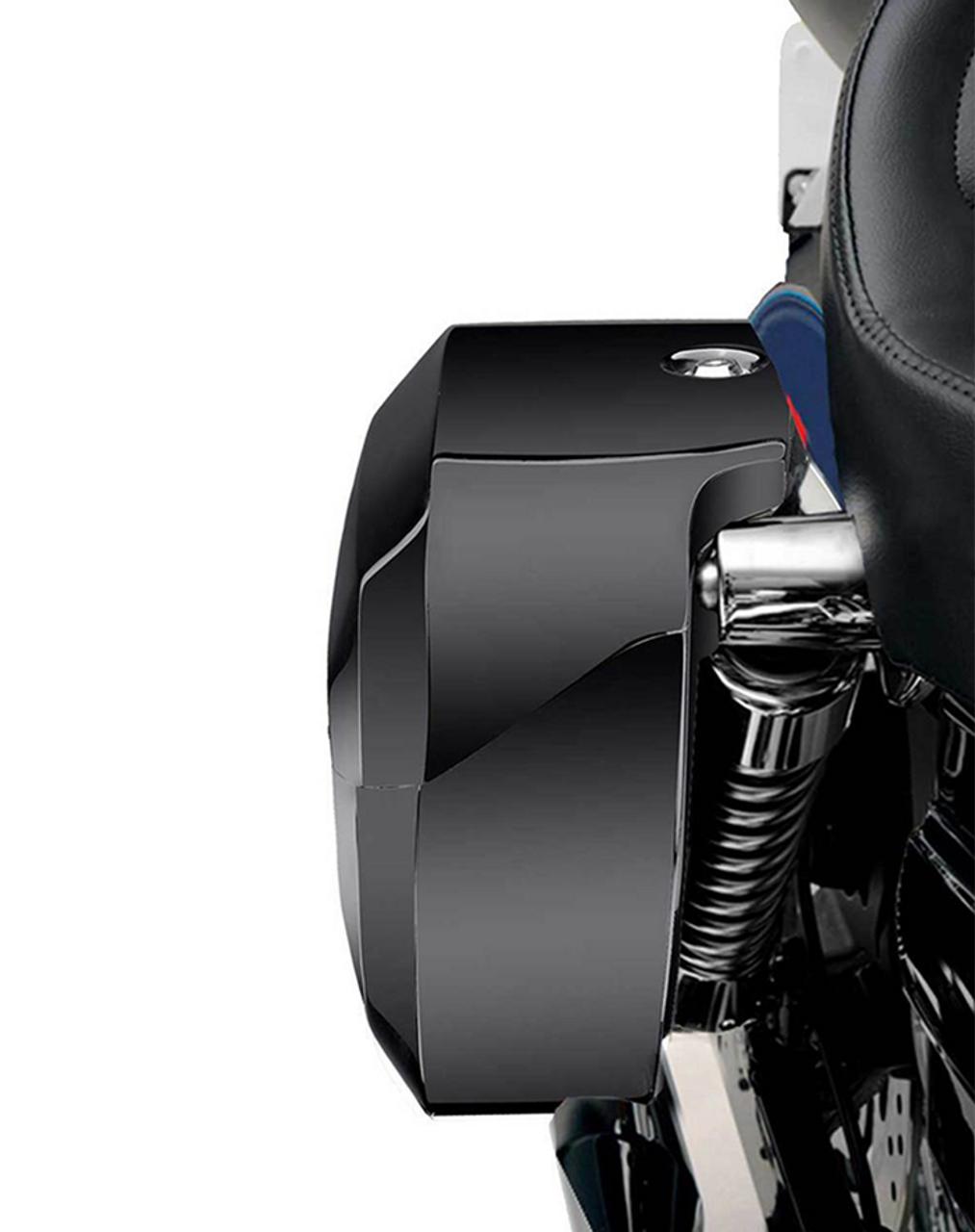 Viking Lamellar Extra Large Shock Cutout Saddlebag For Harley Dyna Street Bob FXDB Shock Cutout View