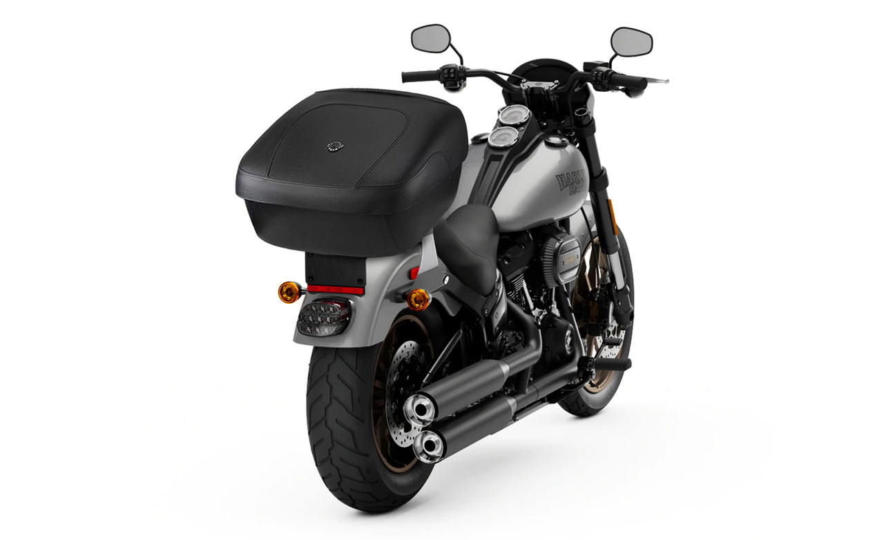 VikingBags Okse Large Premium Leather Wrapped Motorcycle Hard Trunk For Harley Davidson Bag On Bike View