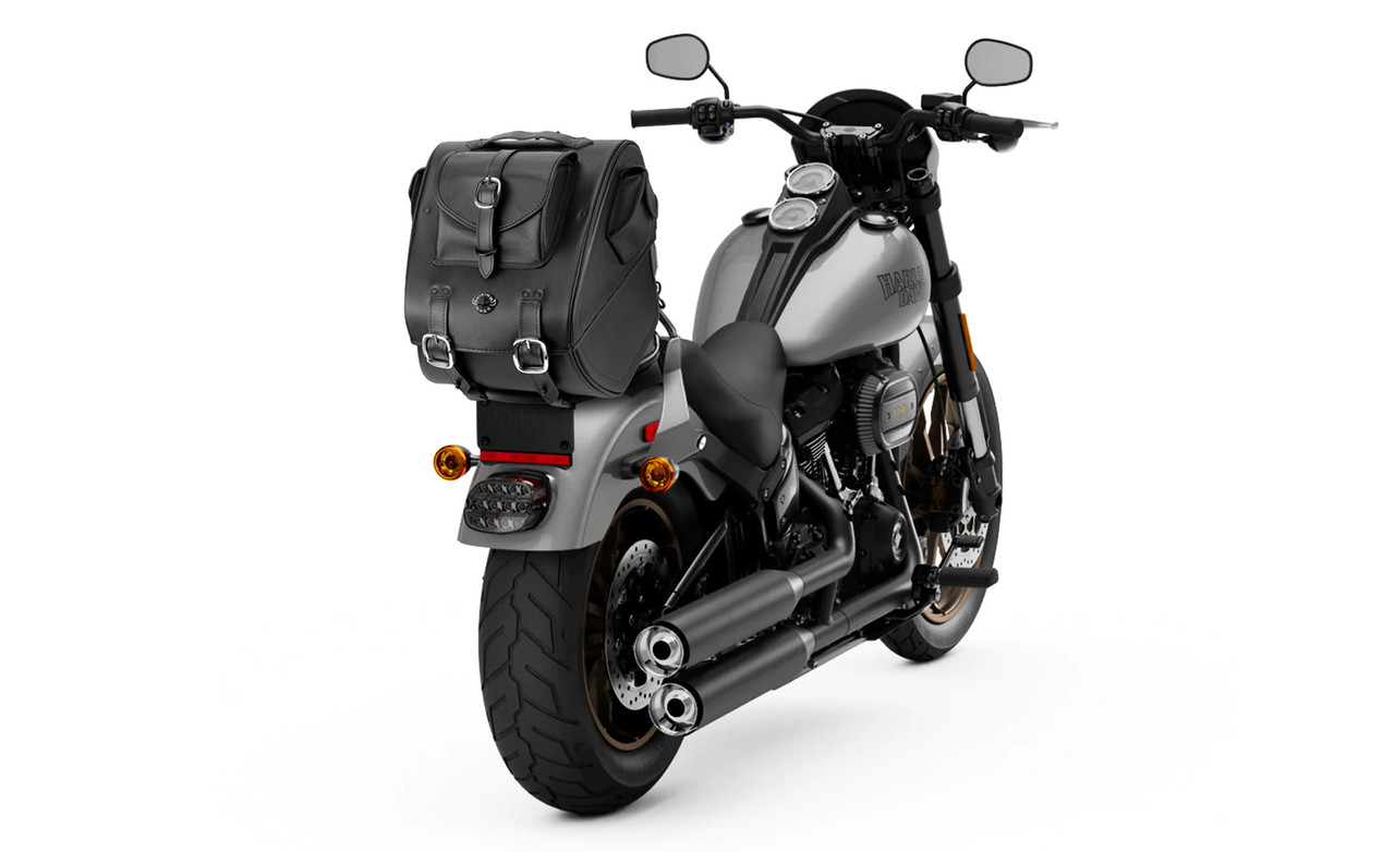 VikingBags Extra Large Classic Leather Motorcycle Sissy Bar Bag Bag on Bike View
