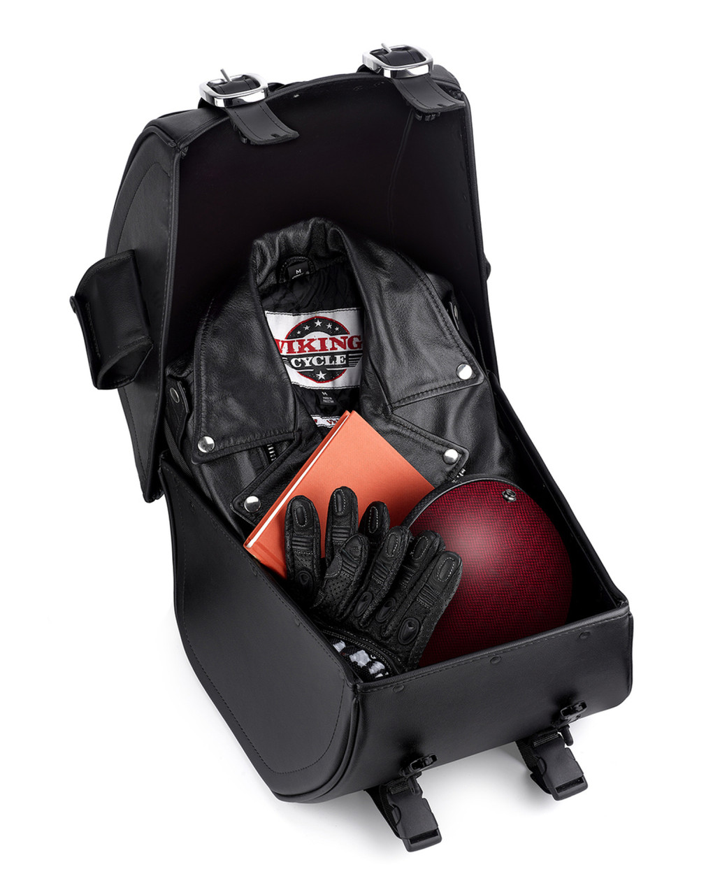 VikingBags Extra Large Classic Leather Motorcycle Sissy Bar Bag