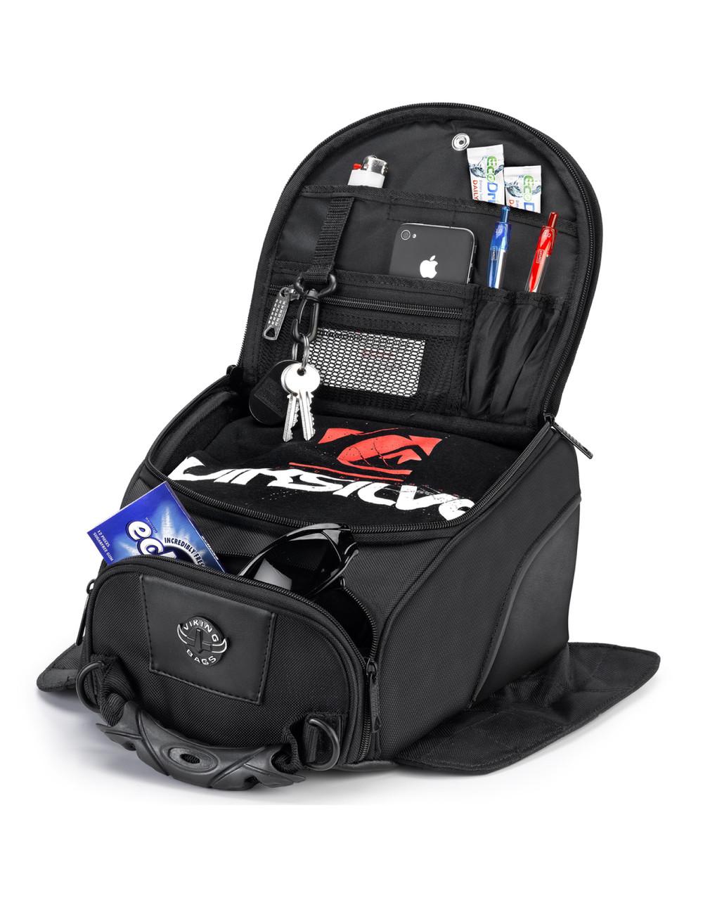 VikingBags AXE Medium Black Magnetic Motorcycle Tank Bag Storage View
