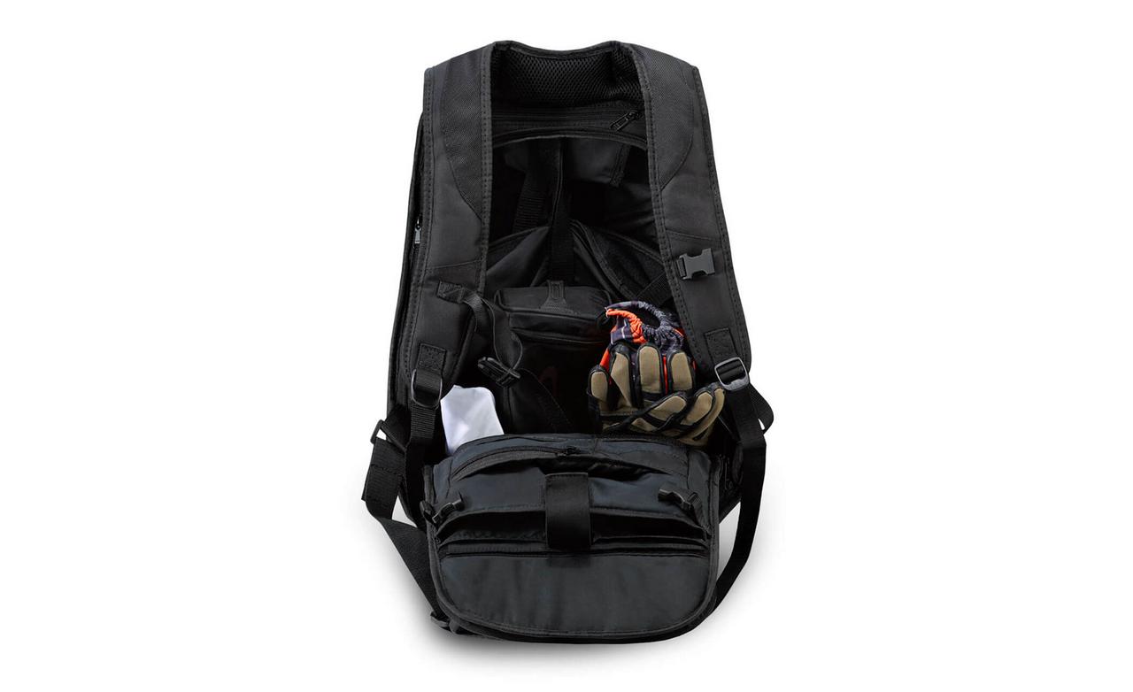 VikingBags Velocity Large Black Expandable Motorcycle Backpack Back View