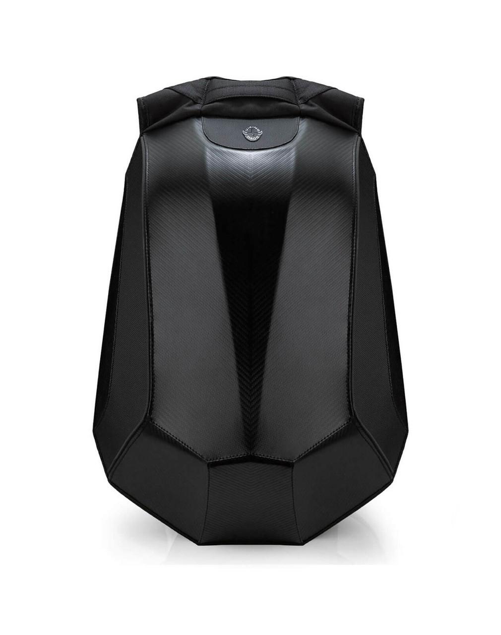 VikingBags Velocity Large Black Expandable Kawasaki Motorcycle Backpack Front View