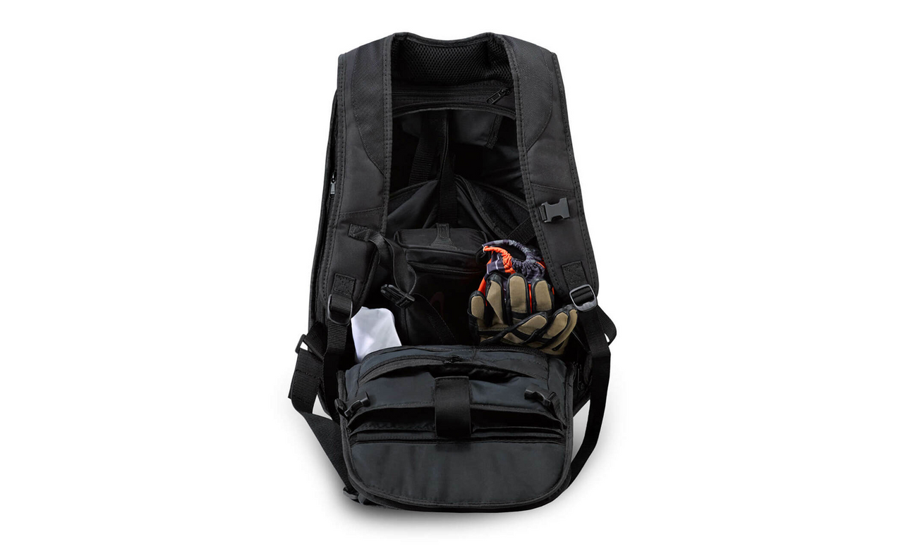 VikingBags Velocity Large Black Expandable Triumph Motorcycle Backpack Back View