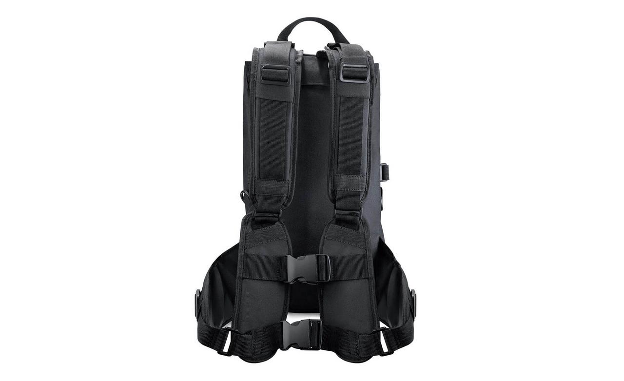 VikingBags Dirtman Medium Black Motorcycle Backpack Back Side View