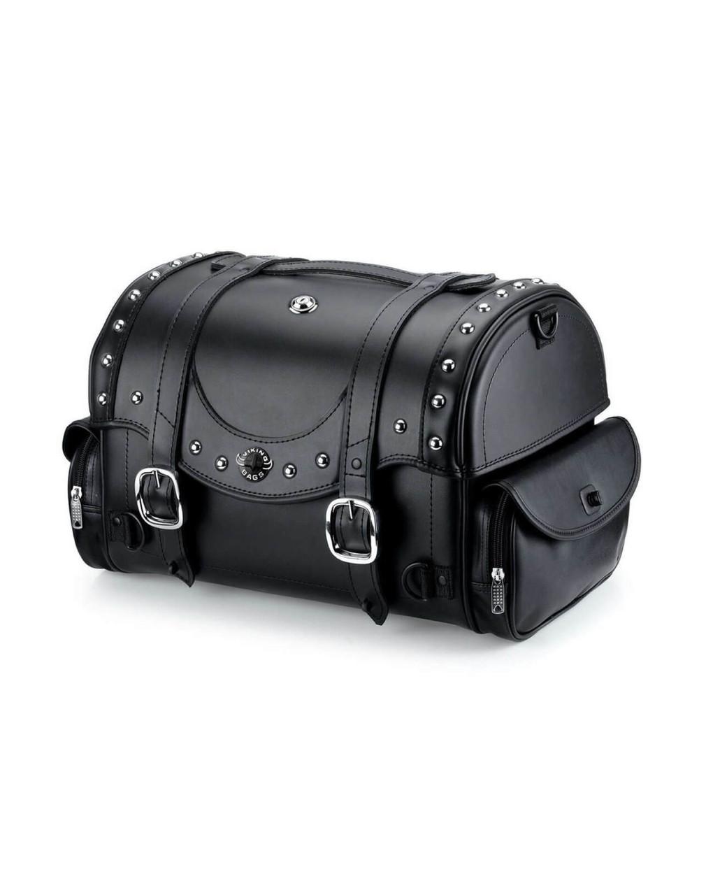 VikingBags Century Large Studded Suzuki Leather Motorcycle Roll Bag Main Bag View