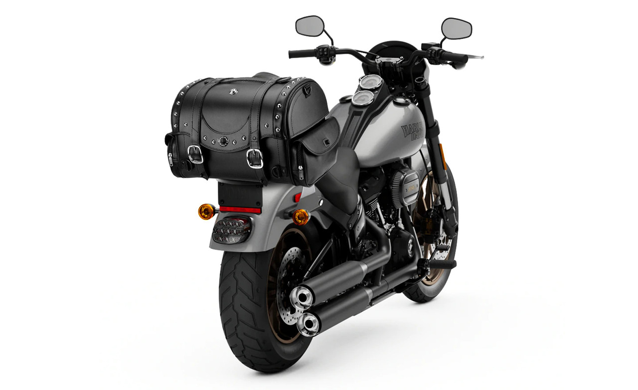 VikingBags Century Large Studded Victory Leather Motorcycle Roll Bag on Bike View