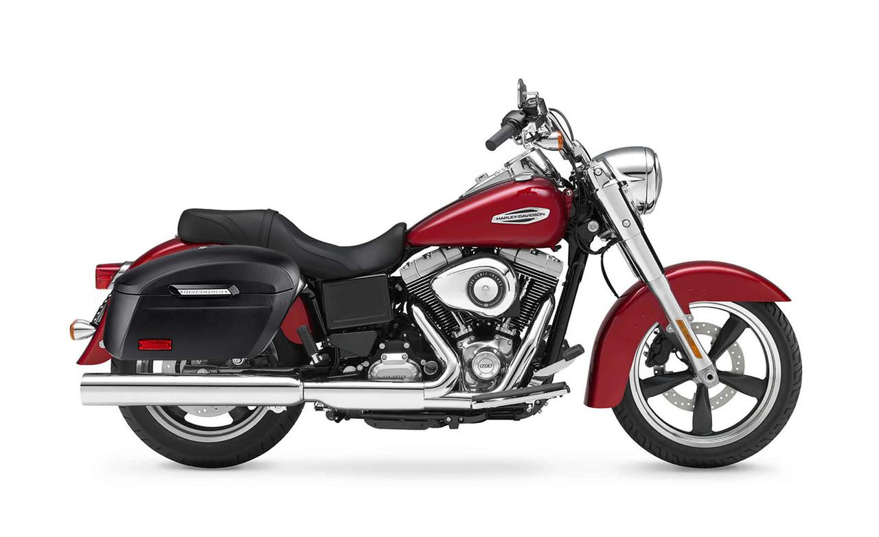 Viking Lamellar Extra Large Shock Cutout Leather Covered Saddlebag For Harley Dyna Switchback Bag on Bike View