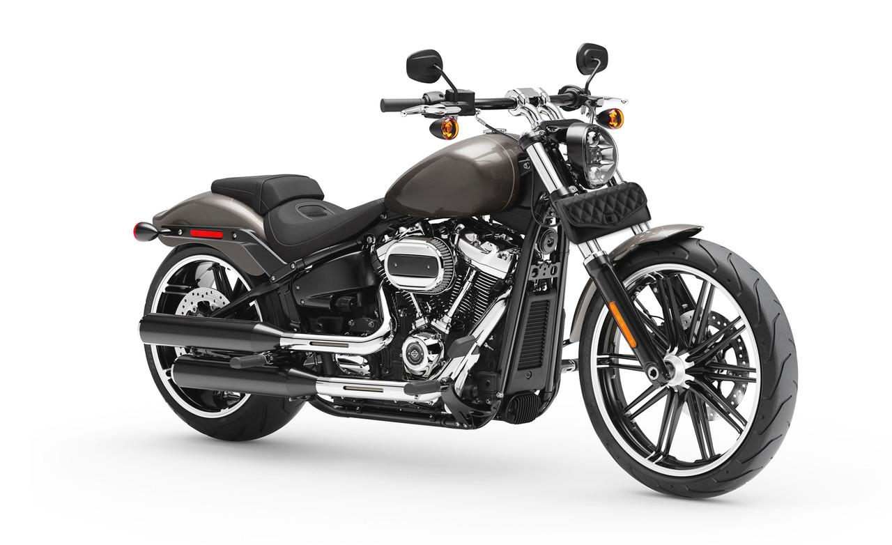 Viking Iron Born Diamond Stitch Leather Kawasaki Motorcycle Tool Bag on Bike View