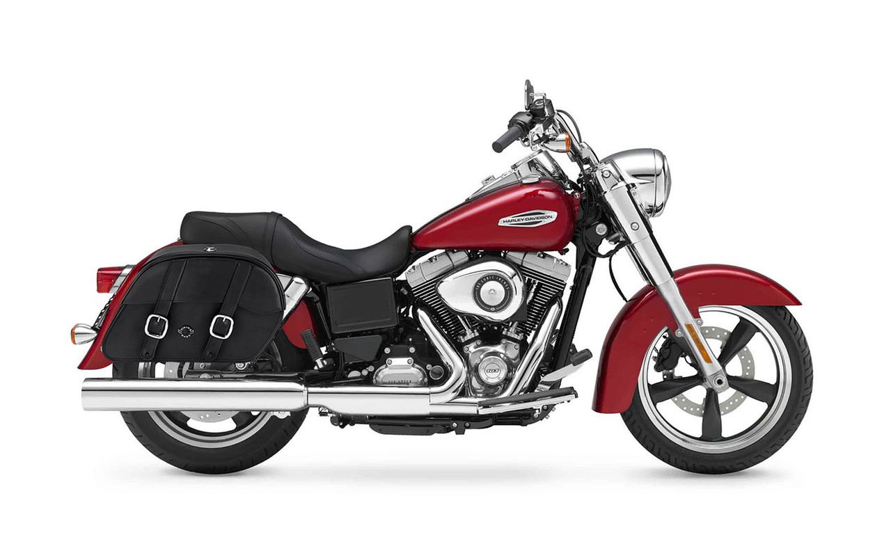 VikingBags Skarner Large Double Strap Leather Motorcycle Saddlebags For Harley Dyna Switchback Bag on Bike View
