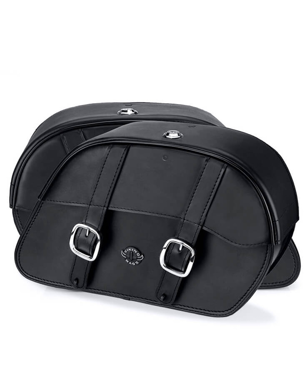 VikingBags Skarner Large Double Strap Leather Motorcycle Saddlebags For Harley Dyna Switchback Both Bags View