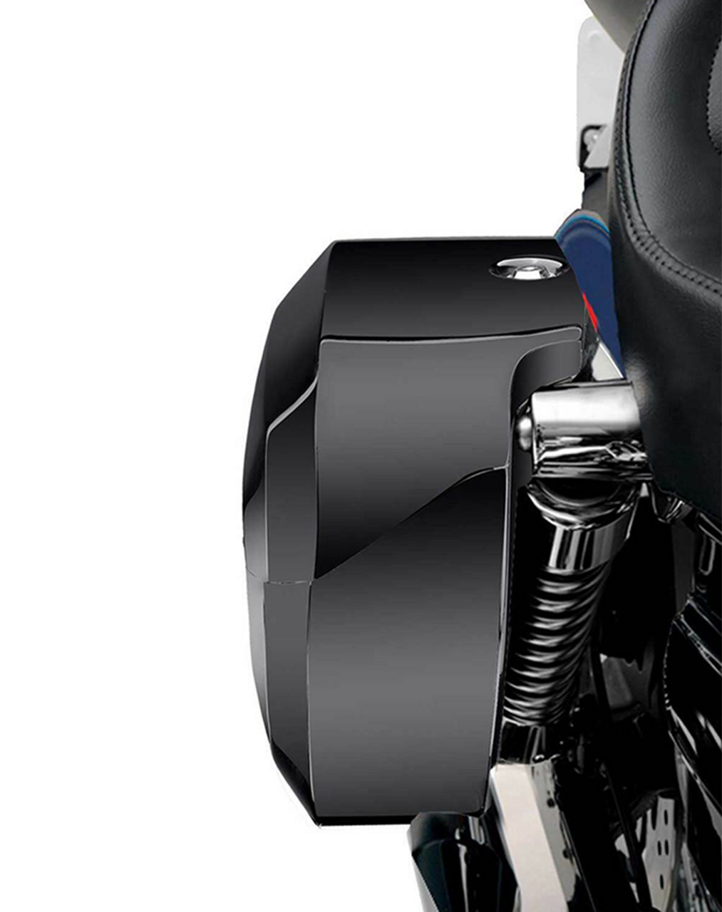 Viking Lamellar Extra Large Shock Cutout Saddlebag For Harley Dyna Wide Glide FXDWG Shock Cutout View