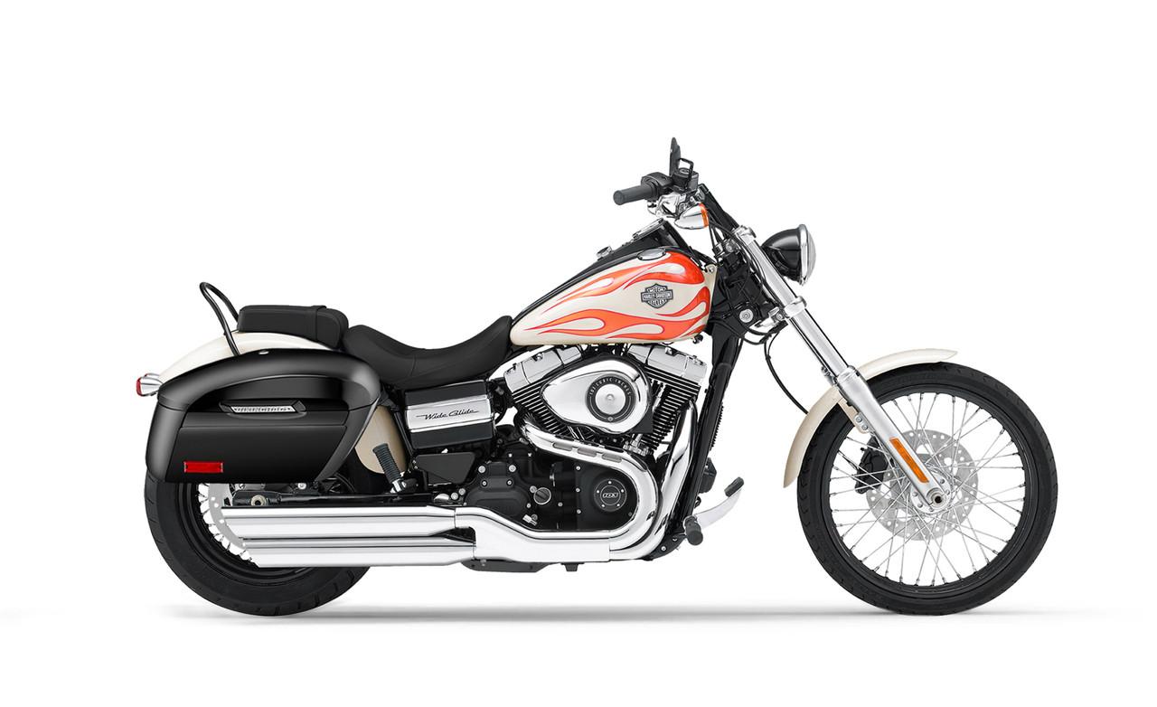 Viking Lamellar Extra Large Shock Cutout Saddlebag For Harley Dyna Wide Glide FXDWG Bag on Bike View