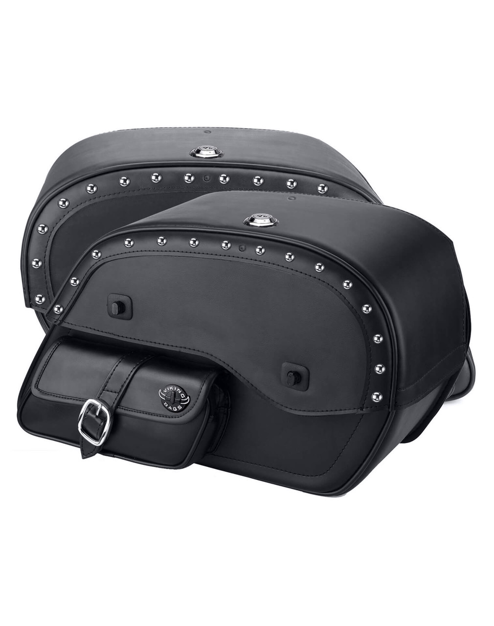 Triumph Rocket III Roadster Side Pocket Studded Motorcycle Saddlebags Both Bags View
