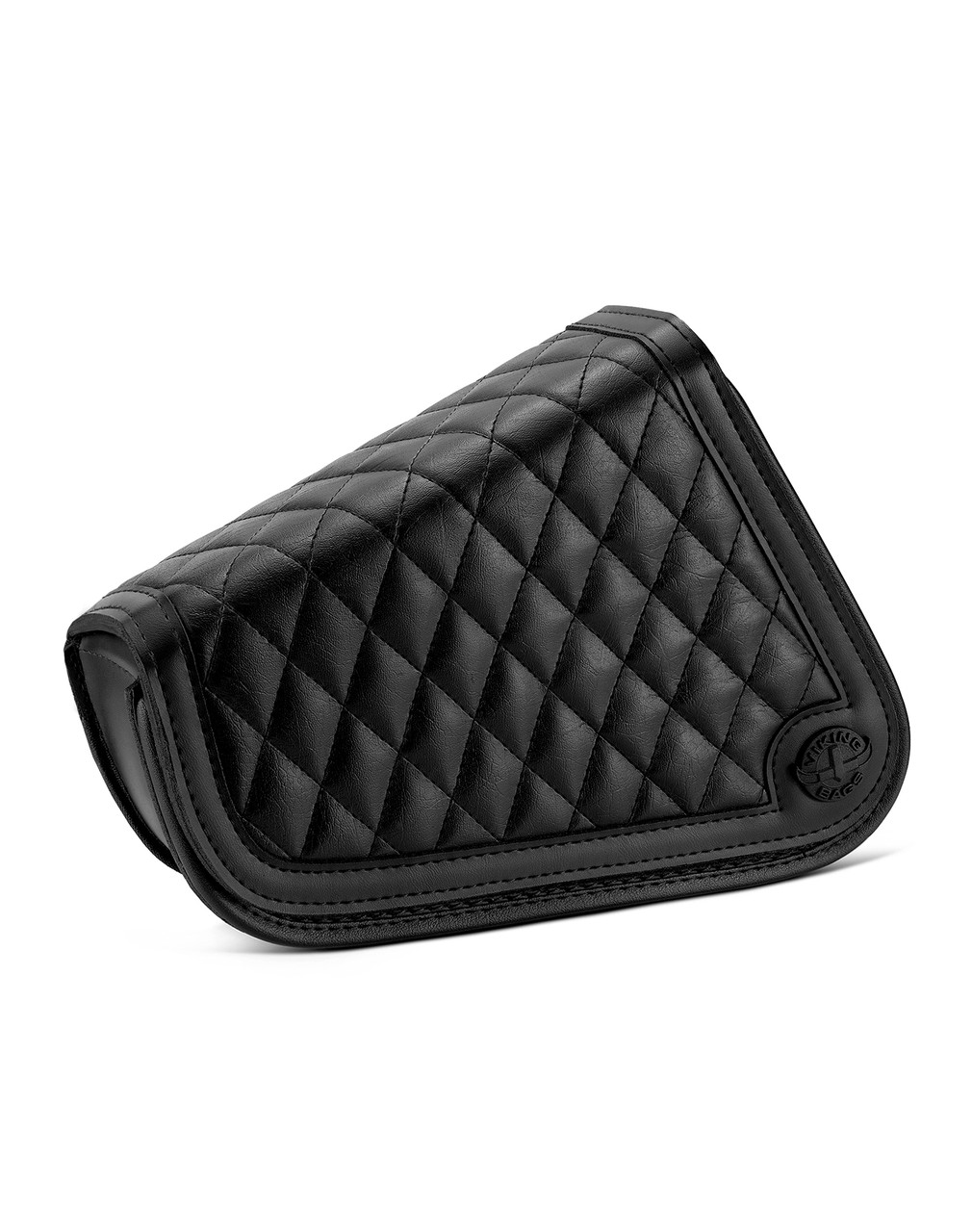 Viking Iron Born Diamond Stitch Leather Motorcycle Swing Arm Bag for Harley Davidson Sportster Main View