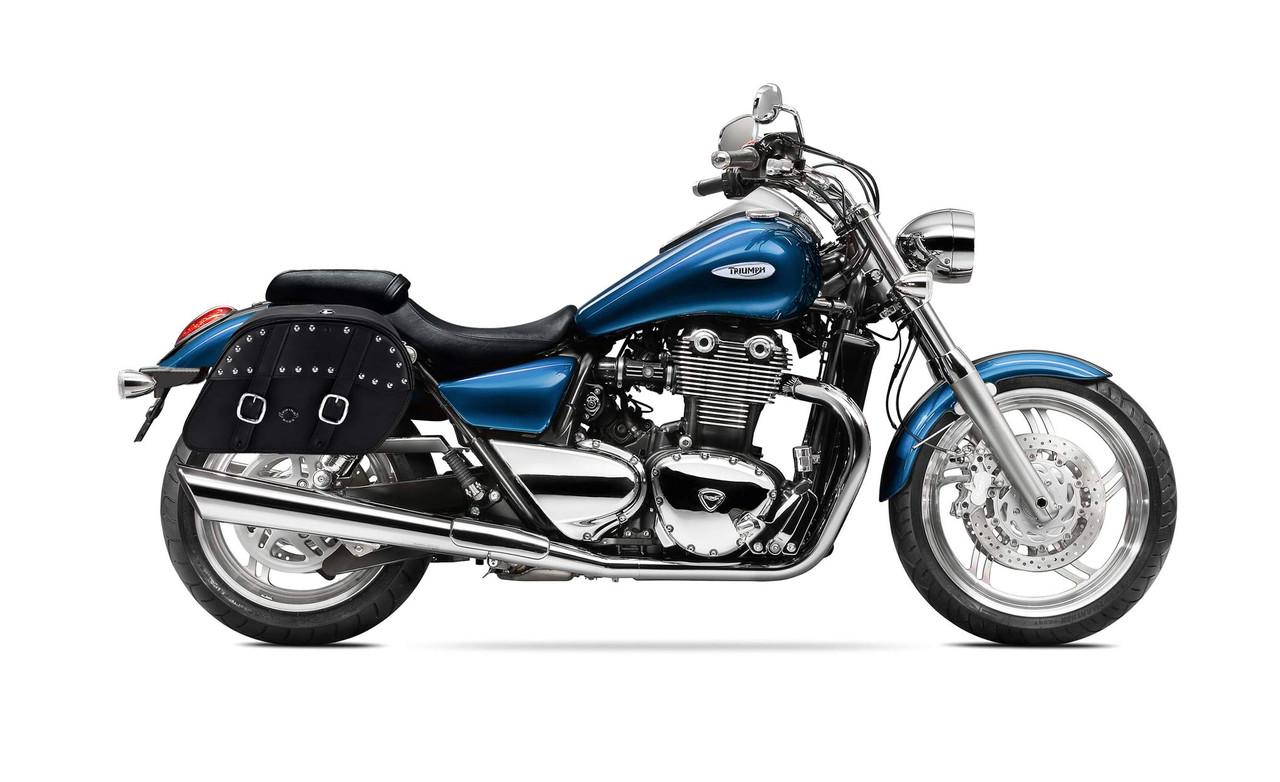 Triumph Thunderbird Shock Cutout Slanted Studded Large Motorcycle Saddlebags Bag On Bike View