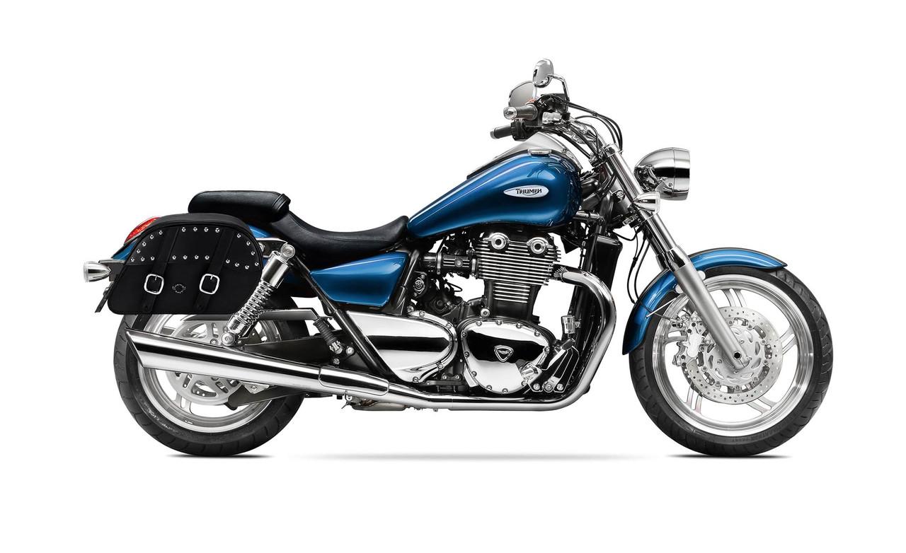 Triumph Thunderbird Slanted Studded Medium Motorcycle Saddlebags Bag On Bike View