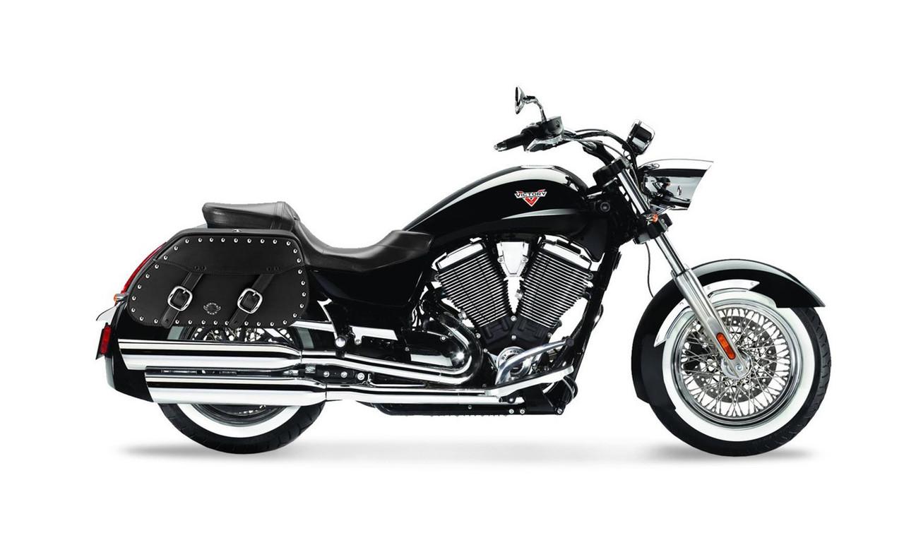 Victory Boardwalk Pinnacle Studded Motorcycle Saddlebags Bag on Bike  View