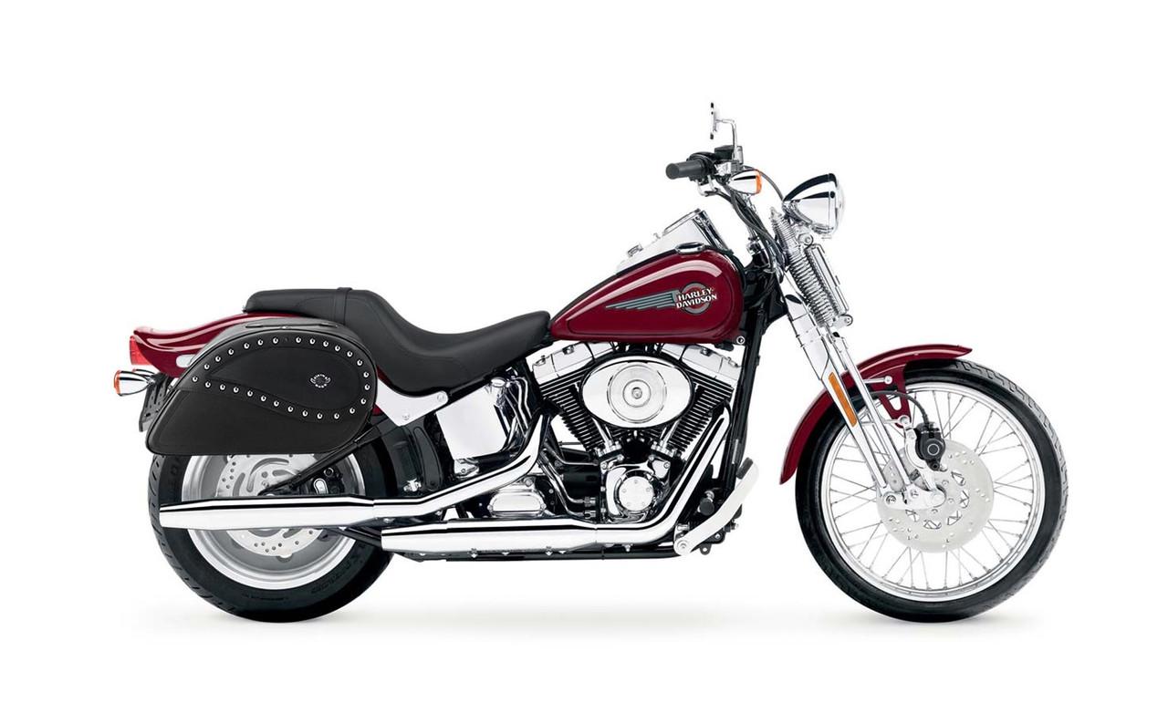 Viking Ultimate Shape Studded Large Motorcycle Saddle Bags For Harley Softail Springer FXSTS bag on bike view